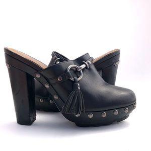 Coach Rane Black Leather Platform Clogs